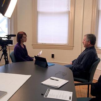 Sharon Reis interviewing